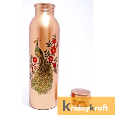 Copper Bottle for Water 1 Litre peacock printed, Dirt Proof, Leak Proof and Joint Less, Ayurveda and Yoga Health Benefits Water Bottle