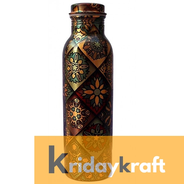 Copper Bottle for Water 1 Litre squre block printed, Dirt Proof, Leak Proof and Joint Less, Ayurveda and Yoga Health Benefits Water Bottle