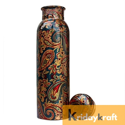 Copper Bottle for Water 1 Litre Dirt Proof, Leak Proof and Joint Less, Ayurveda and Yoga Health Benefits Water Bottle