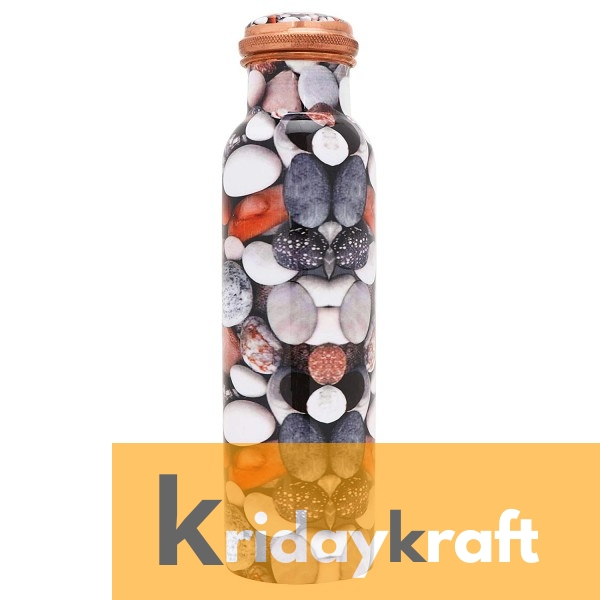 Copper Bottle for Water 1 Litre  stone printed, Dirt Proof, Leak Proof and Joint Less, Ayurveda and Yoga Health Benefits Water Bottle