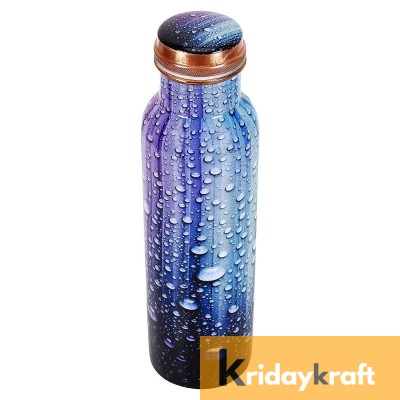 Copper Bottle for Water 1 Litre  water bubbles printed, Dirt Proof, Leak Proof and Joint Less, Ayurveda and Yoga Health Benefits Water Bottle