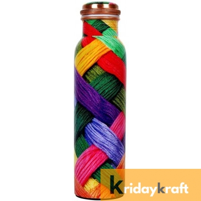 Copper Bottle for Water 1 Litre woolen printed, Dirt Proof, Leak Proof and Joint Less, Ayurveda and Yoga Health Benefits Water Bottle