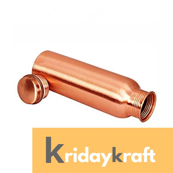 Copper Bottle for Water 1 Litre Matt Finish Dirt Proof, Leak Proof and Joint Less, Ayurveda and Yoga Health Benefits Water Bottle