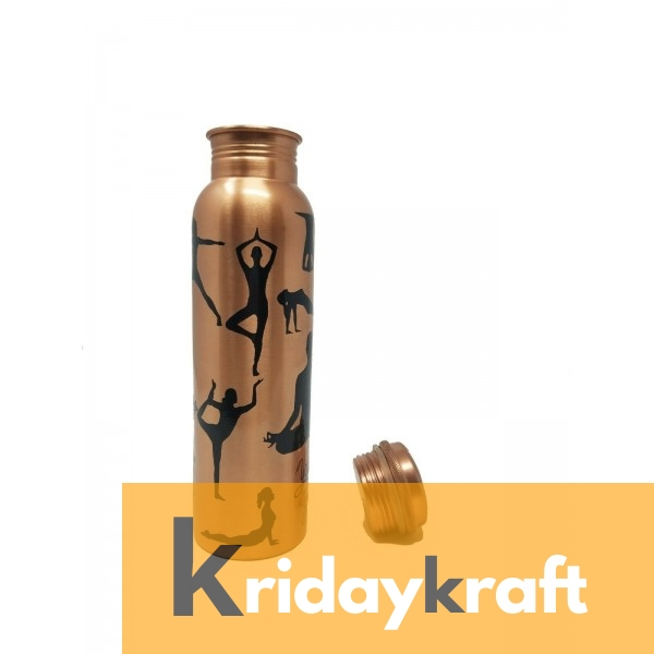 Copper Bottle for Water 1 Litre Yoga printed, Dirt Proof, Leak Proof and Joint Less, Ayurveda and Yoga Health Benefits Water Bottle