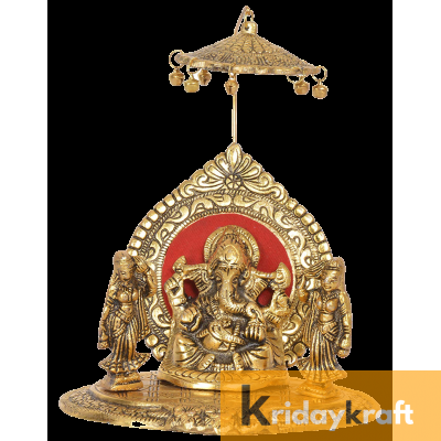 Lord Ganesh Under Umbrella with Goddess Ridhi and Sidhi Showpiece Gold Plated