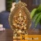 Ganesha showpiece Seated on Mouse in Metal Antique Gold Plated