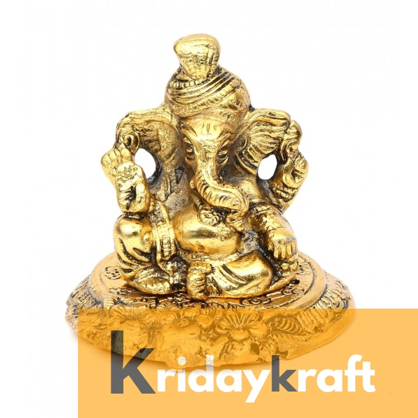Ganesha sitting on metal base Pagdi ganesh gold plated for home decor and gifts