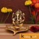 Ganesha sitting on leaf with oil lamp diya xl size gold plated for home decor and gifts