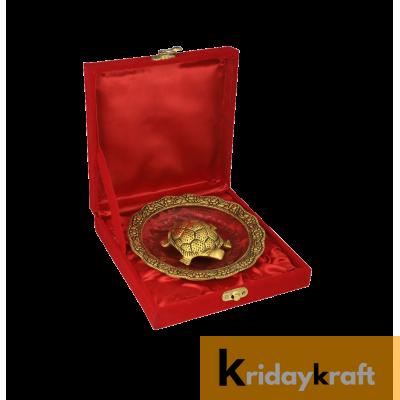 Valvet Box  Feng Shui Tortoise On Plate Showpiece vastu Item for Returns Gifts and coporate gifts