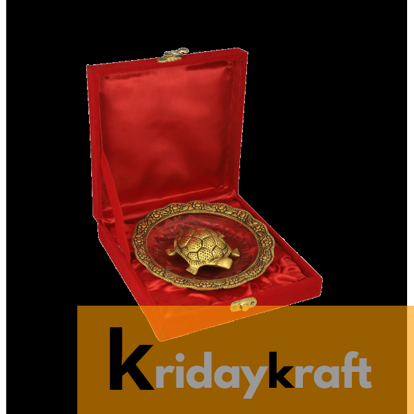 Valvet Box  Feng Shui Tortoise On Plate Showpiece vastu Item for Returns Gifts and coporate gifts