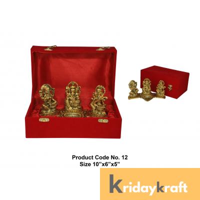 Valvet Box Laxmi ganesh saraswati statue with diya for Returns Gifts and coporate gifts