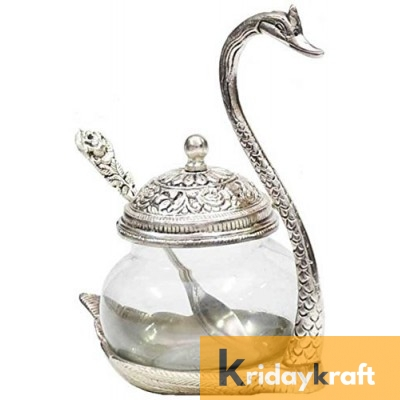Metal Duck Shaped Glass Bowl with spoon Silver Plated Home Decor