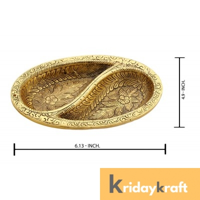 Metal Ovel Shaped Dry Fruit tray table decorative Gold Plated Home Decor