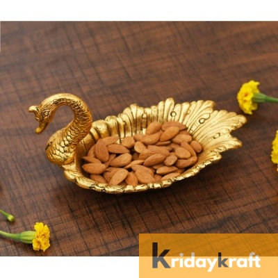 Metal Duck Shaped Dry Fruit tray table decorative Gold Plated Home Decor