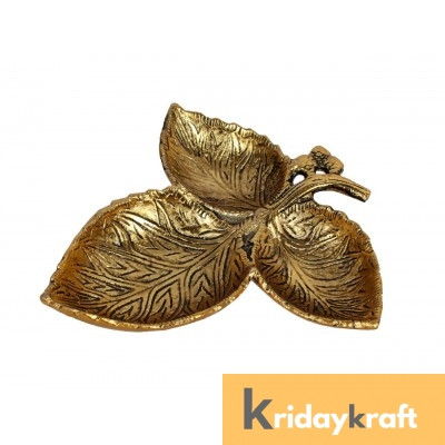 Metal Leaf Shaped Dry Fruit tray table decorative Gold Plated Home Decor