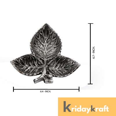 Metal Leaf Shaped Dry Fruit tray table decorative Silver Plated Home Decor