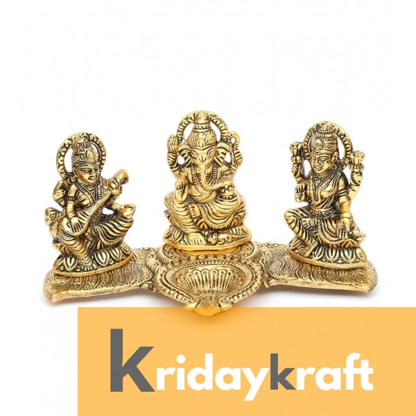 Valvet Box Laxmi ganesh saraswati statue with diya for Returns Gifts and coporate gifts