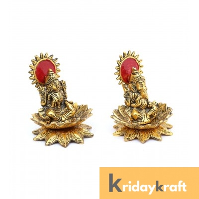 Lakshmi Ganesh Seated on Lotus Gold Plated