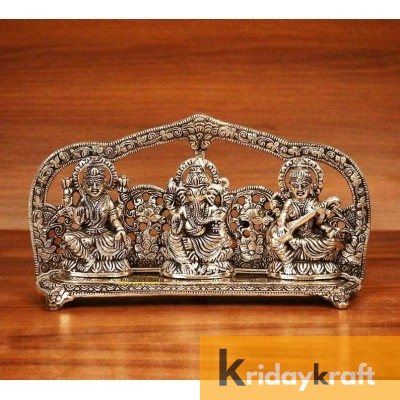 Metal laxmi Ganesh Saraswati plate Idol Decorative murti showpiece for Antique Gift