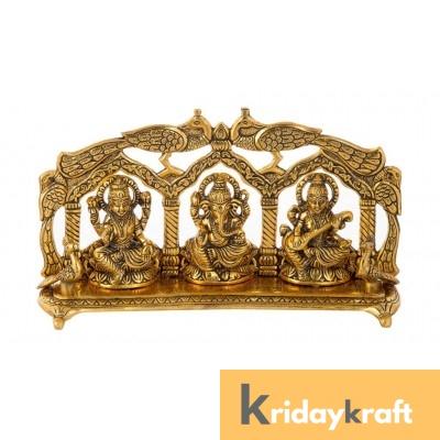 Metal laxmi Ganesh Saraswati Idol Decorative murti showpiece Peacock frem Antique Gift