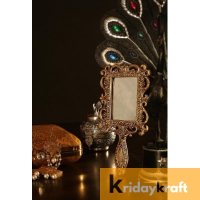 Hand Mirror Vintage Style rectangle Vanity Make Up Hand Held medium Mirror in Gold Polished