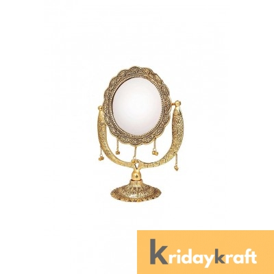 Table Mirror Vintage Style Round Vanity Make Up Fish embose Mirror in Gold Polished