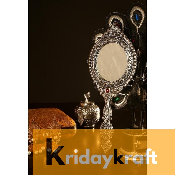 Hand Mirror Vintage Style Round Vanity Make Up Hand Held Large Mirror in Silver Polished