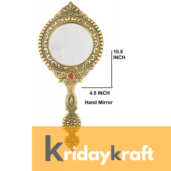 Hand Mirror Vintage Style Round Vanity Make Up Hand Held Large Mirror in Gold Polished