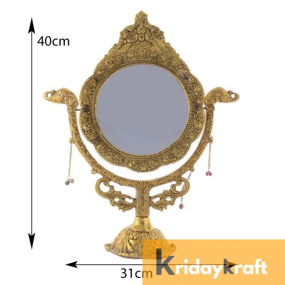 Table Mirror Vintage Style Round Vanity Make Up Elephant embose Large Mirror in Gold Polished