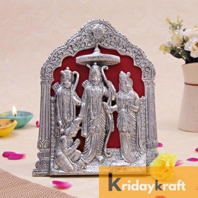 Lord Ram Darbar Idol Wall Hanging Showpiece - Metal Ram Darbar Table Top Statue Silver Polish