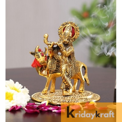 Krishna with kamdhenu cow standing and playing flute gold plated