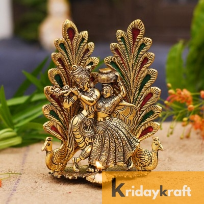 Radha Krishna Dancing Peacock with Flute gold plated for Home Decor Showpiece Gifts Idols