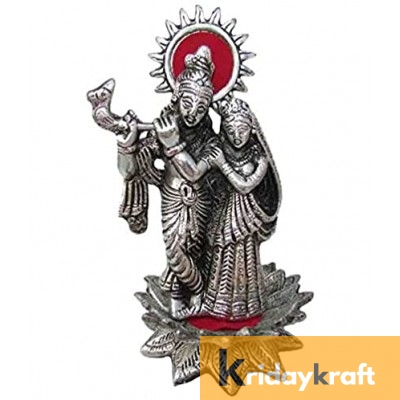 Radha Krishna Standing on Lotus Flower with playing Flute Silver plated for Home Decor Showpiece Gifts Idols