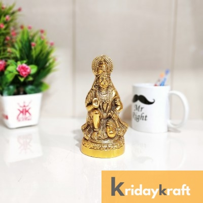 Metal Hanuman ji Murti,Bajrangbali Murti for vastu,Puja & Decor Your Home,Office,Gift Your Relatives on Diwali,Wedding,Birthday... Decorative Showpiece - 16 cm  (Aluminium, Gold)
