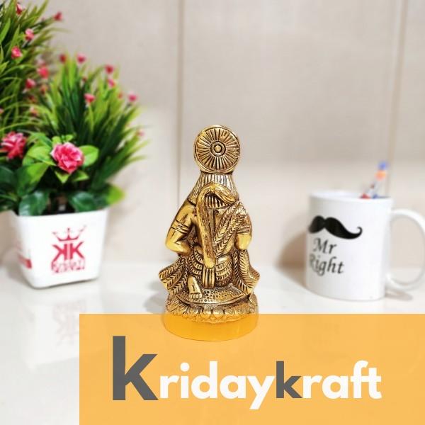 Metal Hanuman ji Murti,Bajrangbali Murti for vastu,Puja & Decor Your Home,Office,Gift Your Relatives on Diwali,Wedding,Birthday... Decorative Showpiece - 16 cm  (Aluminium, Gold)