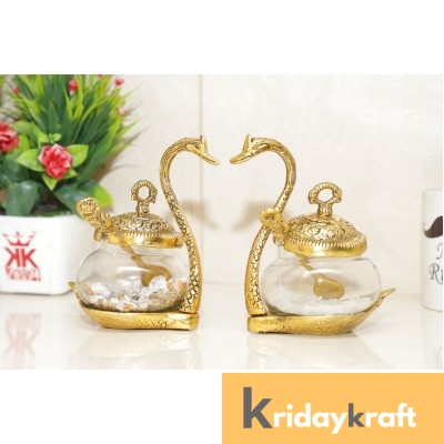 Metal Duck Shaped Glass Bowl with Spoon for Saunf Supari & Dryfruit Tray,Decor Your Home,Office Table & Gift Your Relatives On Wedding,Anniversaries,Birthday... Bowl Serving Set  (Pack of 2)