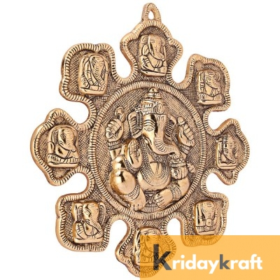 Wall Hanging  9 Mukhi Hindu Lord Ganesha Metal God Ganesh Idol- Vastu Decor |Gold Plated metal Sculpture Lord Ganesh Idol Ganpati Wall Decor Arts Astavinayaka