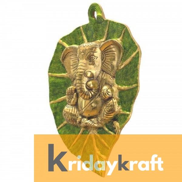 Wall Hanging green golden Leaf Ganesh Menakari Xl