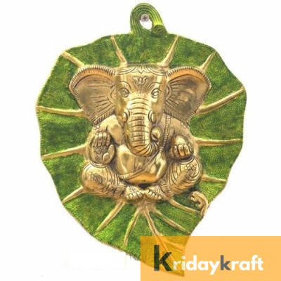 Wall Hanging green golden Leaf Ganesh Menakari Xl