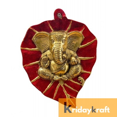 Wall Hanging red goldern Leaf Ganesh Menakari Xl