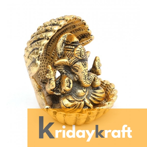 Ganesha sitting with snake gold plated for home decor and gifts
