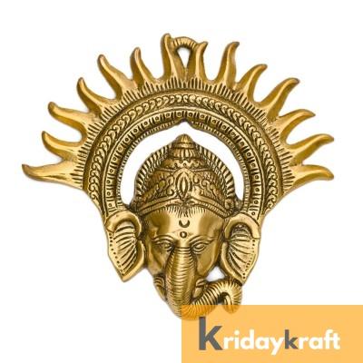 metal Ganesha Wall Hanging Sculpture Lord Ganesh Idol Ganpati Lucky Feng Shui Wall Decor Arts