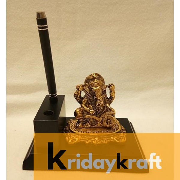 Wooden Pen Stand Base Lord Ganesha reading book Mini Gold Plated for Gifts
