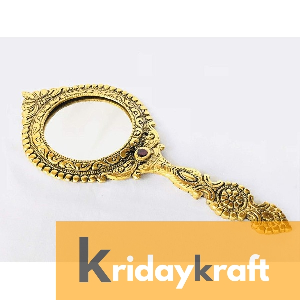 Beautifully Carved Round Shape Gold Plating Hand Mirror for Makeup, Travelling, Salon Mirror & Decorative Mirror Antique Item for Wedding Gifts.