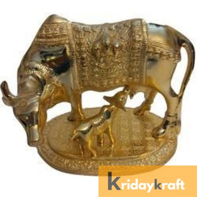 Kamdhenu Cow with Calf Xl Pure Gold Plated Statue for Good Luck