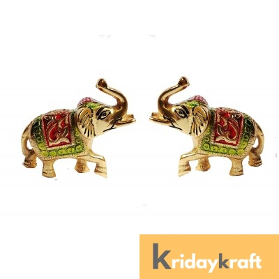Elephant Pair with meena work