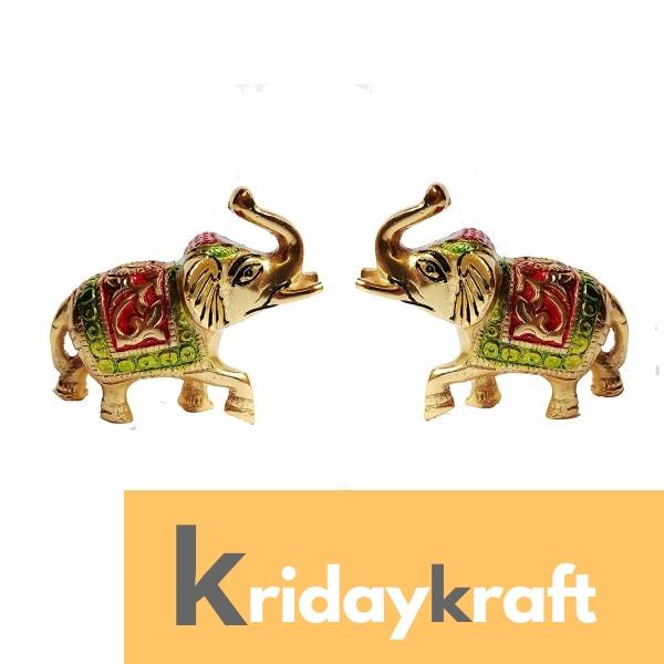 Elephant Pair with meena work