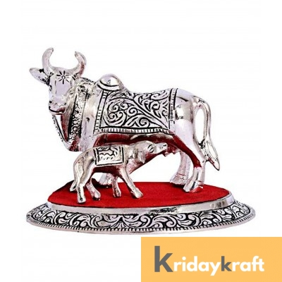 Kamdhenu Cow & Calf Medium SIlver Plated