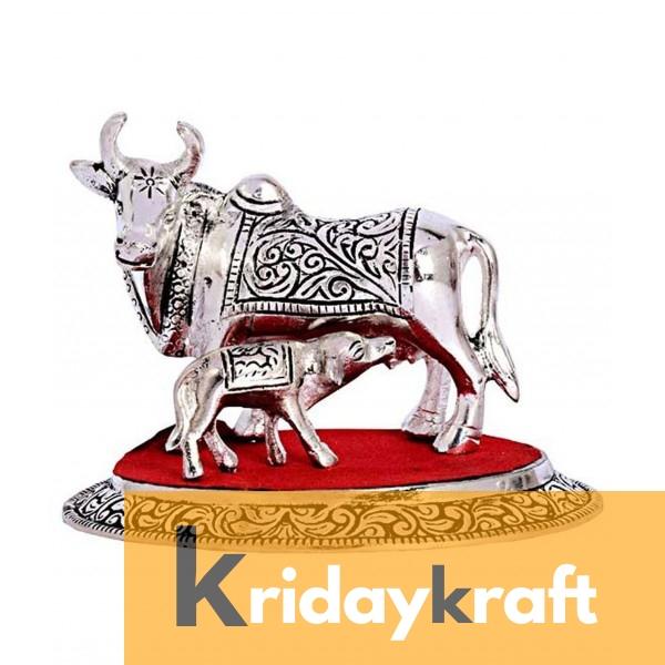 Kamdhenu Cow & Calf Medium SIlver Plated