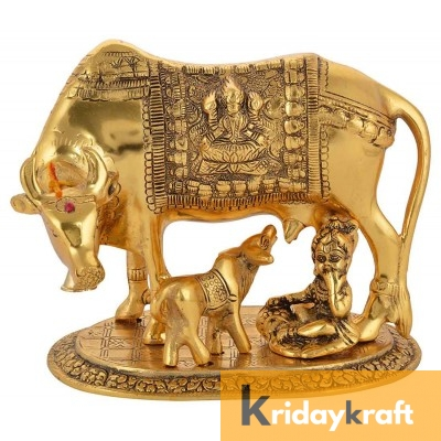 Kamdhenu Cow n Calf with krishna Xl Gold Plated Statue for Good Luck